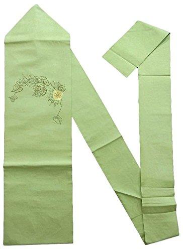 穀物飼い慣らすそのようなリサイクル 名古屋帯  刺繍 つる草に白い花