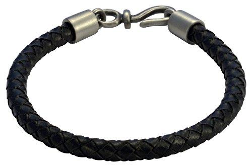 Pewter Black Leather Bracelet (Bico Raw Bolo Black Leather Bracelet (FB402BLK 21cm-8in))