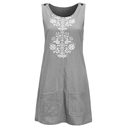 (HITRAS Simple Women O-Neck Sleeveless Buttons Dresses Casual Linen Print Shift Dress With Pocket 2019 )