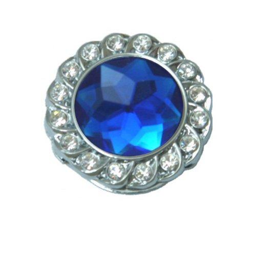 Dia Blue Glass (Eyeglass Holder Brooch with Crystals Bezel - Blue Crystal)