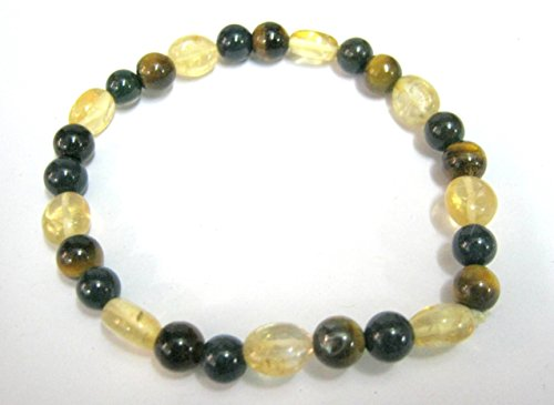 CRYSTALMIRACLE BEAUTIFUL TIGERS EYE/CITRINE/BLOODSTONE BEADED STRETCH BRACELET MEN WOMEN GIFT FASHION JEWELRY POSITIVE ENERGY PROTECTIVE HEALTH WEALTH PEACE MEDITATION WICCA CRYSTAL HEALING