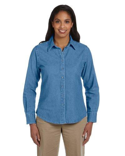Harriton Ladies 6.5 oz. Long-Sleeve Denim Shirt, Large, LIGHT ()