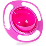 DK FENG Gyro Bowl-Spill Resistant Kids Gyroscopic Bowl with Lid Smooth 360 Degrees Rotation For Children Of All Ages (Red)