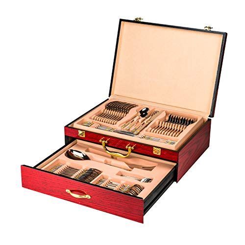 (Venezia Collection Flatware Chest holds up to 75 Pieces of Silverware Forks Knives Spoons, Deluxe 2-Drawer Storage Box Case w/High Gloss Finish, Gold-plated Handle & Latches)