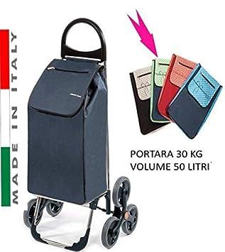 Carro de la compra Tris para subir y bajar escaleras, con tres ruedas, modelo Verona, color: lunares celestes, carga máxima: 30 kg.: Amazon.es: Hogar