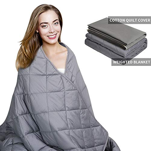 Cheap AMYHOMIE Weighted Blanket & Removable Duvet Cover 2.0 Heavy Blanket Premium Cotton with Glass Beads (Gray 60 x80 15lbs) Black Friday & Cyber Monday 2019