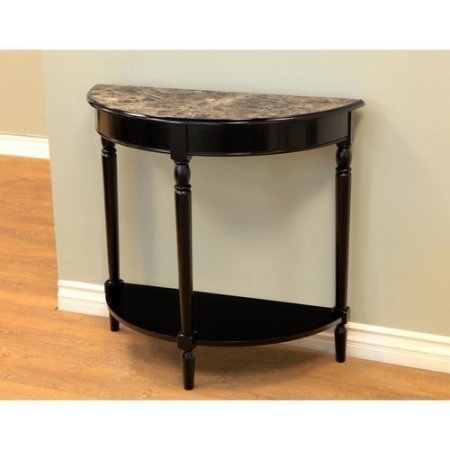 Foyer Hall End Black Table with Lower Shelf, Faux Marble Top, Semicircle Shape, Wood Frame, Perfect for Entryway, Side Sofa Table, Living Room, Home Indoor Furniture, BONUS E-book (Half Moon Marble)