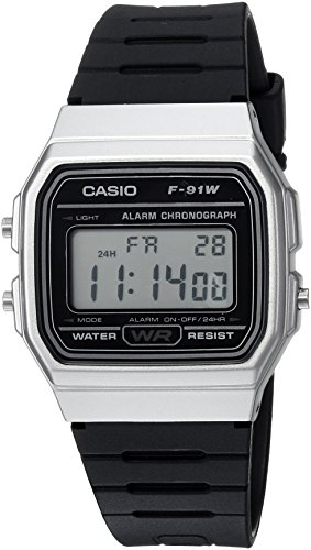 Casio Men's 'Classic' Quartz Metal and Resin Casual Watch, Color Black (Model: F-91WM-7ACF) (Resin Metal)