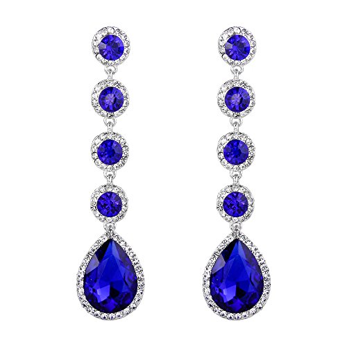 BriLove Wedding Bridal Dangle Earrings for Women Elegant Crystal Teardrop Chandelier Earrings Royal Blue Sapphire Color Silver-Tone