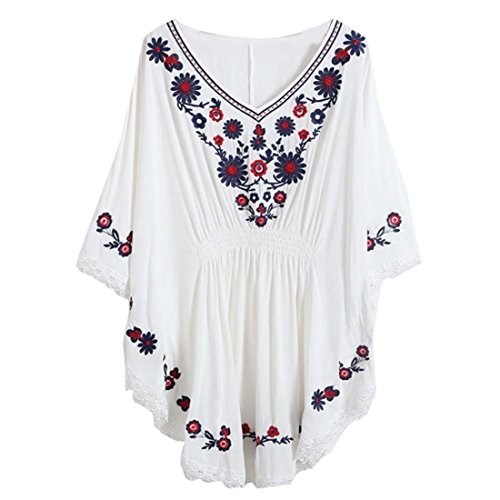 Kafeimali Women's Batwing Dressy Tunic Peasant Tops Mexican Embroidery Blouse (White) ()