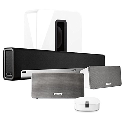 Sonos Multi-Room Digital Music System Bundle (PLAYBAR, (2) PLAY:3 Speakers - White, Wireless Subwoofer - White, and BOOST) by Sonos