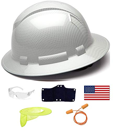 Pyramex Safety Full Brim Hard Hat Adjustable Ratchet 4 Pt Suspension Graphite Pattern White Shiny + 3 Hard Hat Sweatbands + Clear Safety Glasses + Hard Hat Neck Shade + Ear Plugs + American Flag Decal