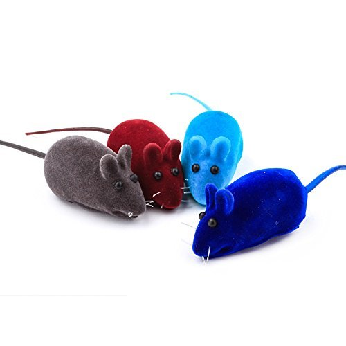 (Dog Cat Playing Toy Squeak Noise Toy Lovely Rat Toy Mice False Mouse Bauble 4PCS Multi-colors)