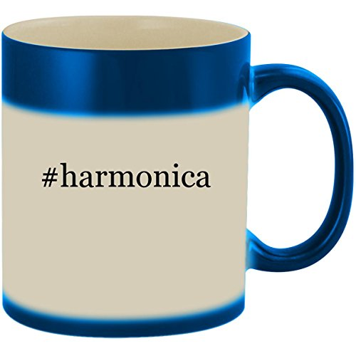#harmonica - 11oz Ceramic Color Changing Heat Sensitive Coffee Mug Cup, Blue (Hohner Piedmont Blues 7 Harmonica Pack With Case)