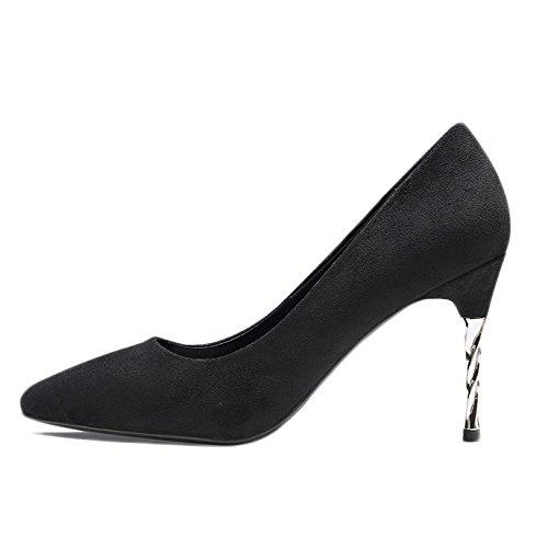 3 EU 9cm Sexy Noir De 35 Nightclub Travail Mode Femme Chaussures Haut Mariage Court Talons Chaussures Black UK 6TCxBq