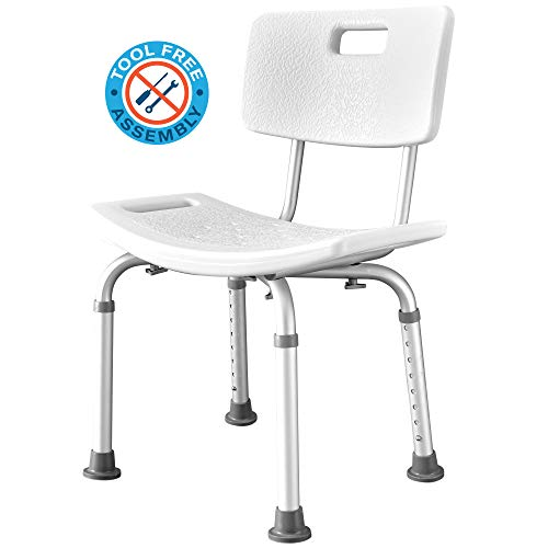 Waterproof Shower Chair - Adjustable Bathtub and Bathroom Safety Seat with Sturdy Anti-Slip Rubber Feet for Limited Mobility, Elderly, Surgery Recovery, Handicap, Hospital Patients - Shower Stool