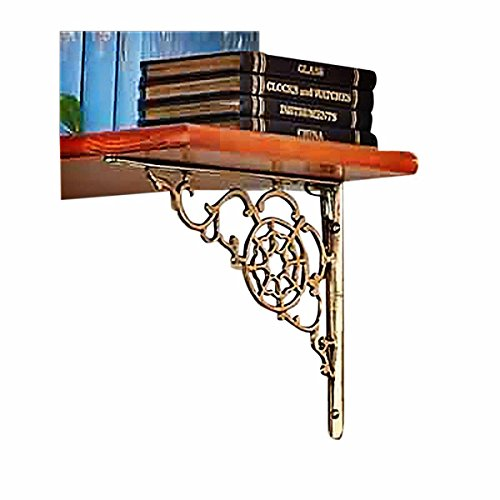 Shelf Brackets Solid Brass Paired Polished Wall Mount Large Ornate Decorative Rustproof RSF (Solid Brass Shelf Bracket)