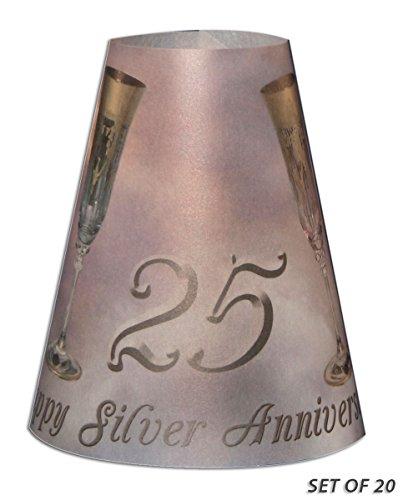 Royal Designs TLS-1007A-20 25Th Silver Anniversary Vellum Paper Wine Glass Tea Light Lampshade, Silver Anniversary (Tea Light Lamp With Shade)