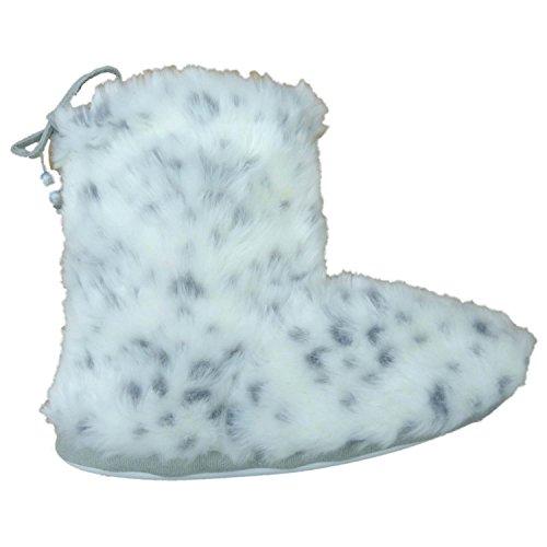 Urbanology Womens White Gray Fuzzy Faux Fur Bootie Slippe...