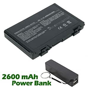 Battpit Bateria de repuesto para portátiles Asus PL80JT-W (4400mah / 63wh) con 2600mAh Banco de energía / batería externa (negro) para Smartphone