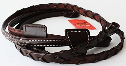 TackRus Horse English Padded Leather Braided Contest Show Rein Brown 8031004CK (Leather Steel Reins)