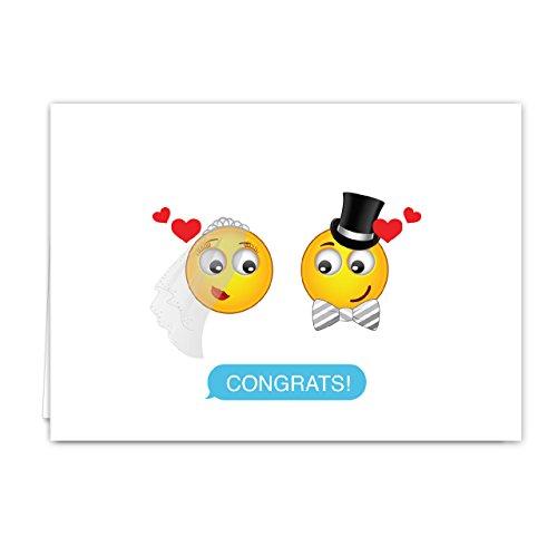 Emoji Wedding Card Pack - Set of 18 cards, blank inside with white envelopes