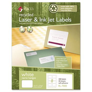 (MACRL7000 - Recycled Laser/Inkjet White Name Badge Labels)