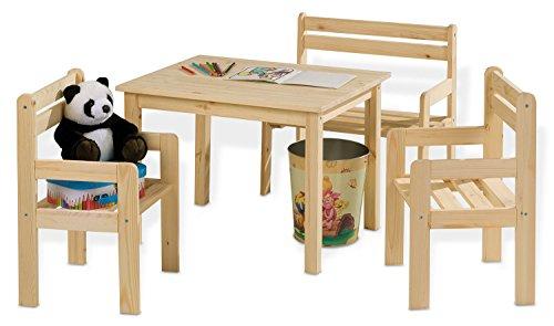 Kindersitzgruppe Kindertischgruppe KAI Holz Kiefer massiv mit Tisch, 2 Stühlen & Sitzbank