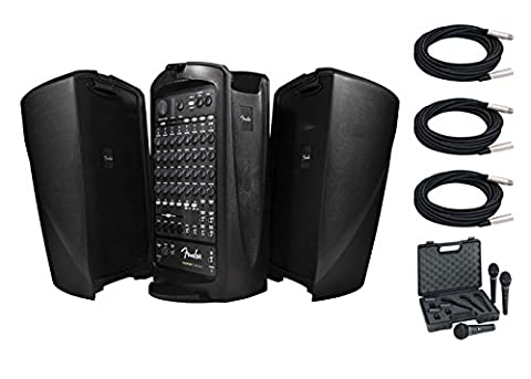 Fender Passport Venue PA System Bundle With Free Behringer Ultravoice XM1800S Dynamic Cardioid Vocal Microphone Three Pack and Three 20FT XLR Microphone - Pa System Package