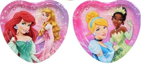 - Disney Princess 8 ct Heart Shape Dessert Plates, (2 Pack) 16 Total Plates - Featuring Ariel, Snow White, Rapunzel, Tiana
