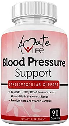 Lower Blood Pressure Health Formula – Natural Blood Pressure Pills Supplement with Hawthorne, Garlic, Hibiscus Olive Leaf- Heart Health Supplements for High Blood Pressure 90 Capsules by Amate Life