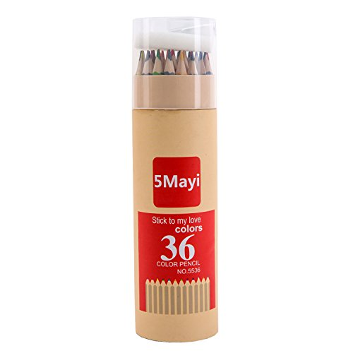 5Mayi Assorted Colors Long Drawing Pencils/Colored Pencils with Sharpener (Set of 36)
