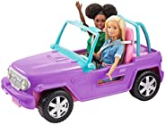 ​Barbie Off-Road Vehicle, Purple with Pink Seats and Rolling Wheels, 2 Seats, Gift for 3 to 7 Year Olds