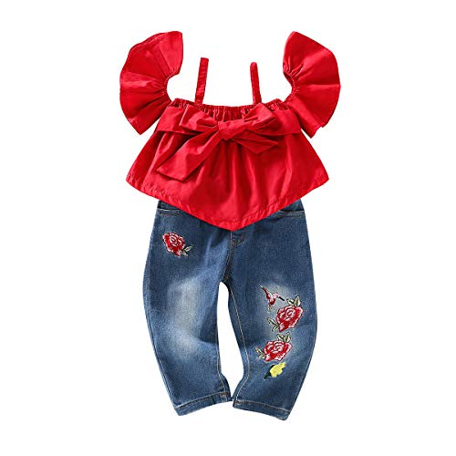 Toddler Baby Girl Clothes Summer Halter Ruffle Outfits Red Big Bowknot Off Shoulder T-Shirt Top+ Flowers Denim Pants 2PCS Infant Jeans Outfit Sets 2-3T ()