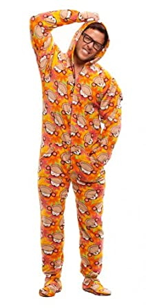 Denver Broncos Ladies Orange Footie Pajama. Show your team spirit! This cozy microfleece footie pajama for women features the classic Denver Broncos logos on an orange background. Union suit is machine washable and has two pockets, as well as gripper bottoms on the feet.
