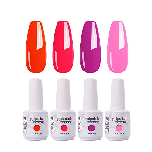 Arte Clavo 15ml Varnish Soak Off UV Led Nail Gel Polish Nail Art Salon Set of 4 Colors