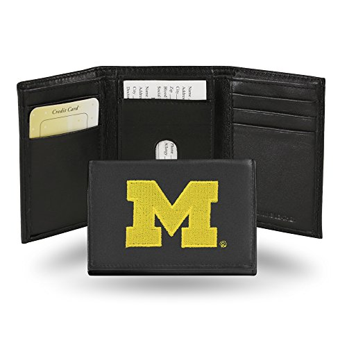 Rico Industries NCAA Michigan Wolverines Embroidered Leather Trifold Wallet