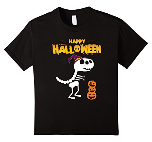 Kids Funny Happy Halloween T-Rex Shirt - perfect gift 6 Black
