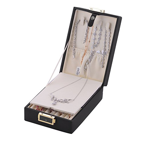 MBLife Laminated Leather Double Layer Mirror Travel Jewelry Box Organizer Black by MBLife (Image #4)