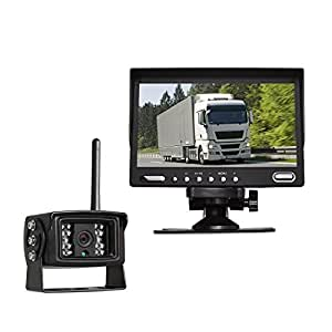 """Auto-Vox Digital Wireless Backup Camera System with 7"""" HD Rearview Monitor, Sony CCD Super Night Vision camera IP 68 Waterproof Rear view camera for Trucks"""