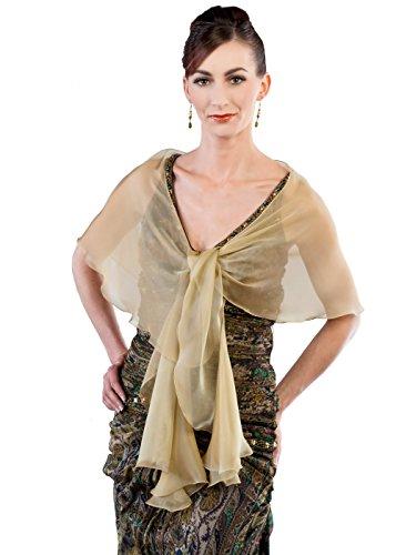 Antique Gold Evening Wedding Silk Chiffon Scarf Wrap Shawl by Lena Moro
