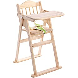 Ambermier Kids Wooden High Chair with Tray,Adjustable Baby High Chair and Foldable High Chair for Babies,Perfect Seating Highchair Solution for Your Child(6 Months & up)