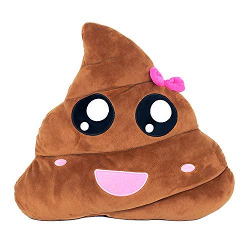 YINGGG Cute Poop Emoji Pillow Round Plush Toy, 32 x 32 x 10 cm