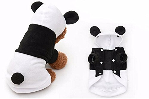 [Dog Clothes For Dogs Pets Costume Clothing Fleece Panda Ear Hoody Clothes Pullover Coat Costume (S)] (Bear Dog Costume)