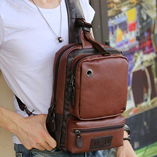 de fresco hombres del de pecho bolso Bolso PU de cuero al Los Crossbody deportes solo del aire del hombro libre ocasional de bolso moda la saco de B4azaTqd