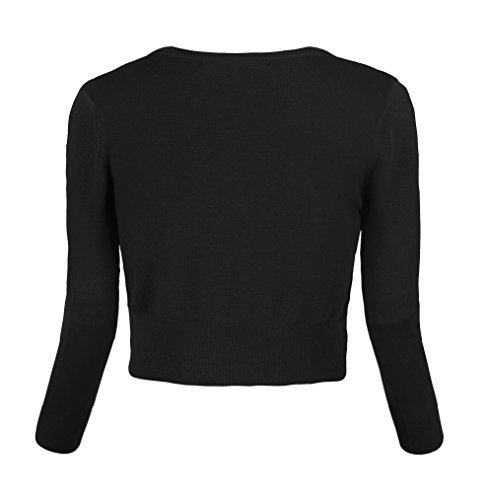 25db0a9580ace Urban CoCo Women s Cropped Cardigan V-Neck Button Down Knitted Sweater 3 4  Sleeve