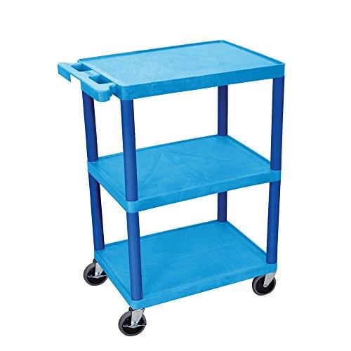 LUXOR HE34-BU Shelf Utility Cart, 3 Shelves, 32.5 , Blue