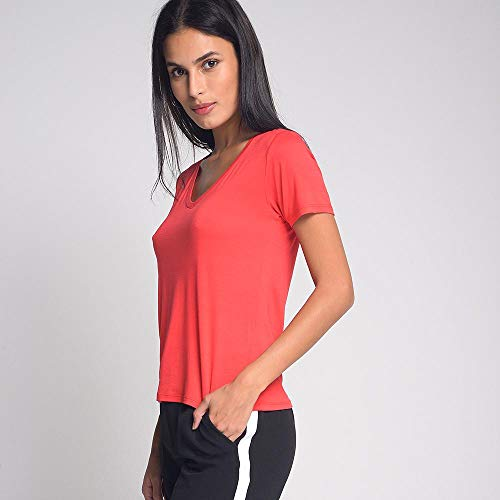 Camiseta Luigi Bertolli Feminino Básica Gola V Vermelho