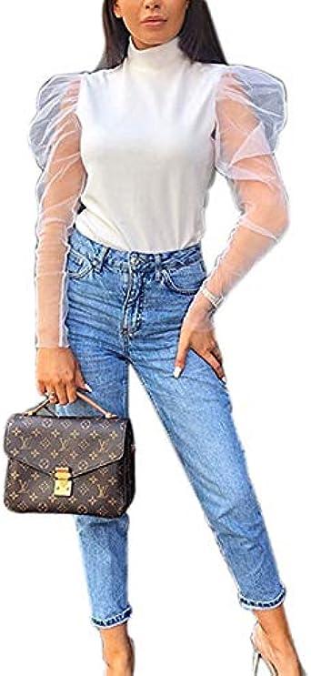 Camiseta Manga Larga Transparente para Mujer Blusa Mujer Moderna con Manga Gasa Transparente Tops Elegante con Cuello Alto para Primavera.