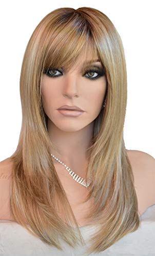 - Auflaund Long Straight Blonde Wigs Imported Synthetic Ombre Dark Root Layered High Dentistry Glazed Hair Replacement Wigs for Women with Inclined Bangs 22 Inches (T/Blonde)